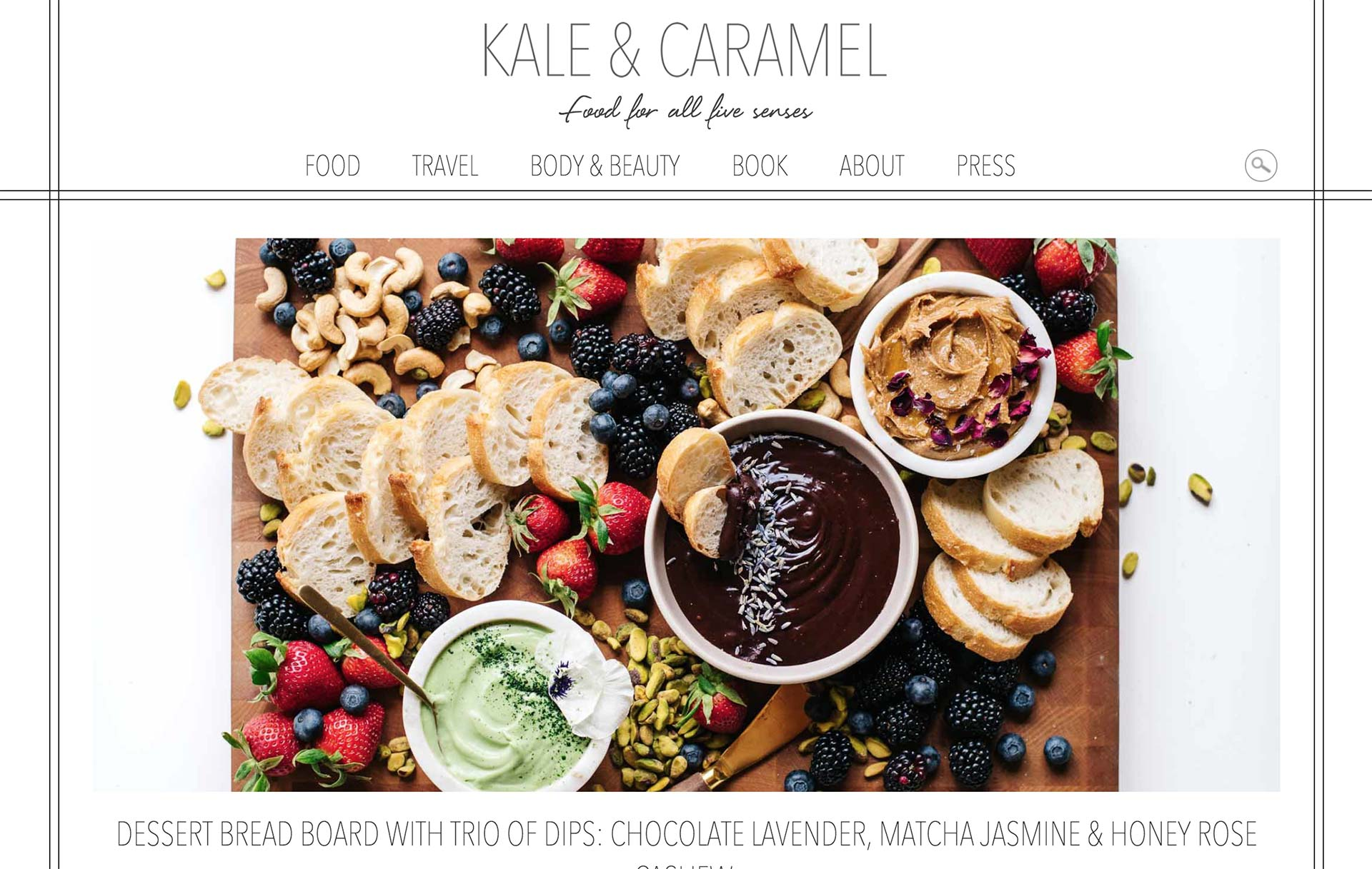 Kale and Caramel Homepage