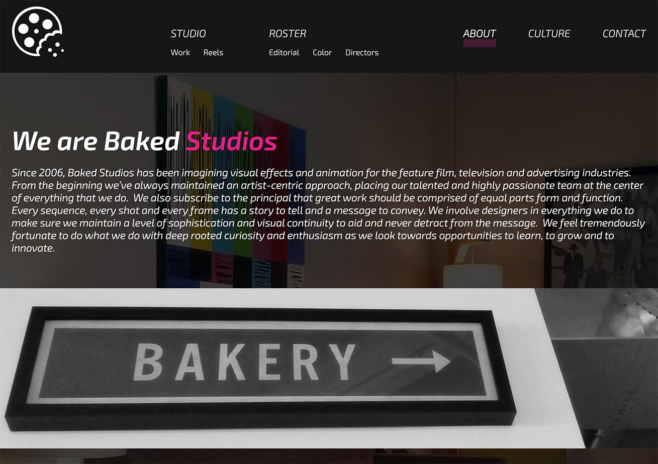 Baked studios ABOUT page