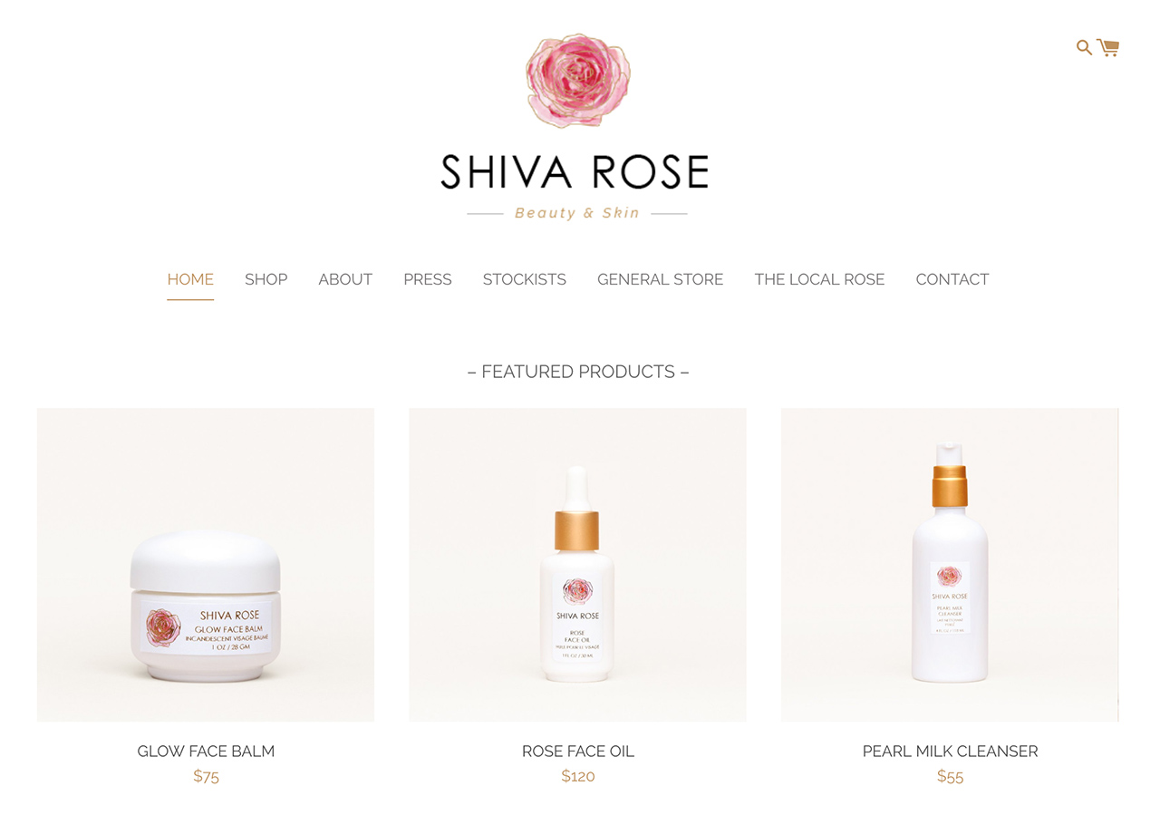 Shiva Rose Homepage